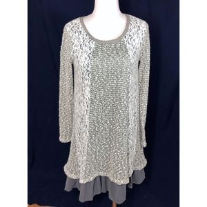 A'reve Dress Medium Long Sleeve Lace & Knit